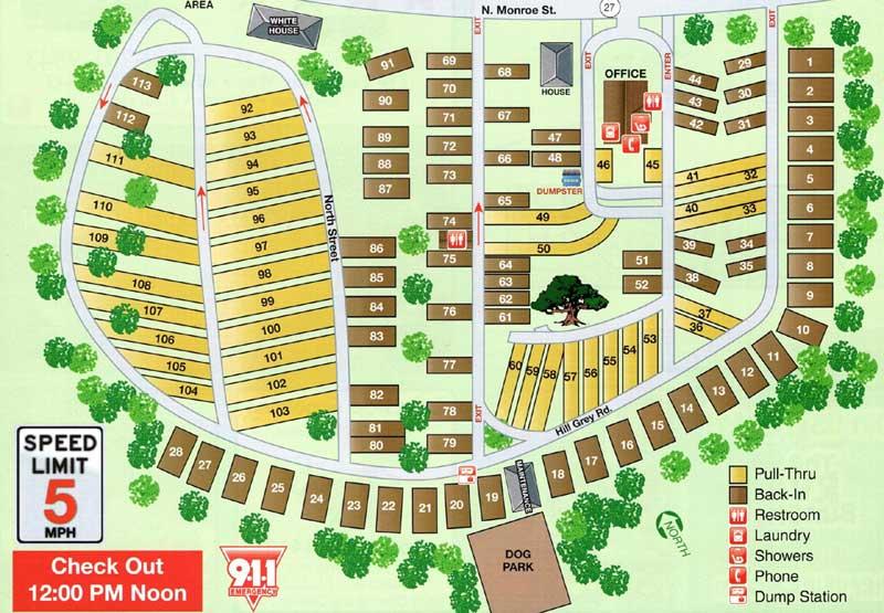 Big Oak RV Park Map